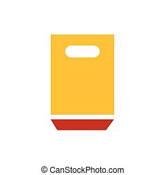 paper bag icon yellow and red color