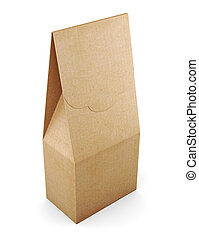 Paper bag isolated on white background. 3d rendering