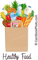 Paper bag of groceries. Concept of healthy food with dairy...