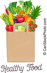 Paper bag of healthy food