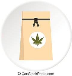 Paper bag of medical marijuana icon circle
