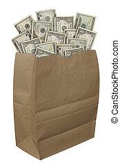 Paper bag of money
