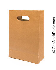 paper bag on white with clipping path