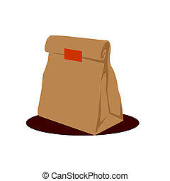 Paper Bag Package, Folded, Close, Brown. Ready For Your...