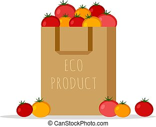 Paper bag, package with fresh red, yellow and pink tomatoes on a white background. ECO product. Flat design colored vector illustration