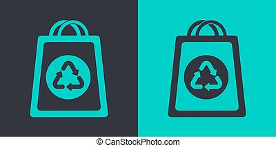Paper bag recycling icon. Flat vector outline
