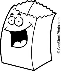 A cartoon paper bag happy and smiling.