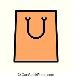 Paper bag vector illustration, filled style editable outline icon