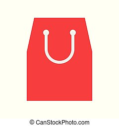 Paper bag vector illustration, flat style icon