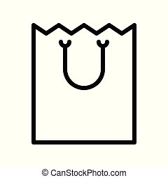 Paper bag vector illustration, line style icon