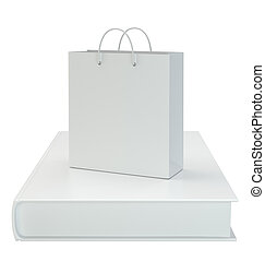 Paper bag with a book isolated on white background. 3d rendering