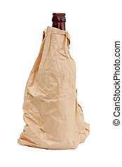 paper bag with a bottle
