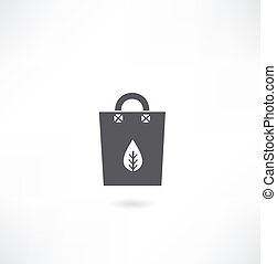 paper bag with a leaf of the tree icon