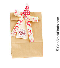 paper bag with christmas tag