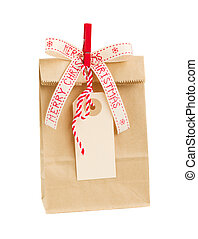 paper bag with empty tag for christmas - paper bag with...