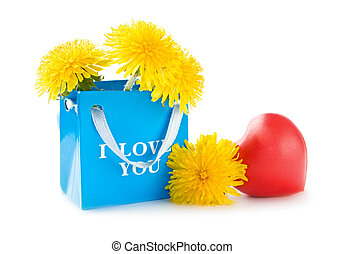 Paper bag with flowers and heart
