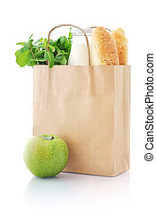 Paper bag with food - Brown paper bag with food isolated on...