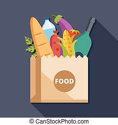 Paper bag with food flat concept