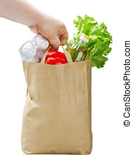 paper bag with food in hand