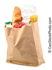 paper bag with food isolated on a white background