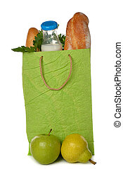 Paper bag with food isolated on white background
