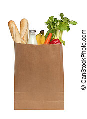 paper bag with food on a white background
