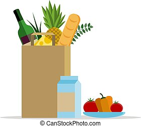 Paper bag with food. Paper package with fresh healthy produce. Vector flat illustration. Plate with vegetables