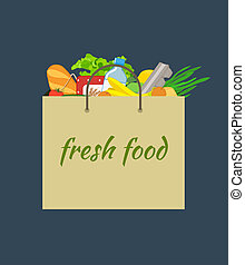paper bag with food. Shopping bag with Vegetable and fruit,...