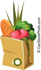 Paper Bag With Food. Vector Illustration