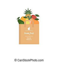 Paper bag with fresh fruit