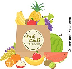 Paper bag with fruits