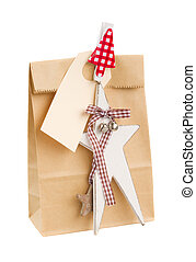 paper bag with gift for christmas