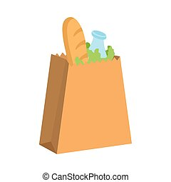 paper bag with groceries food icon