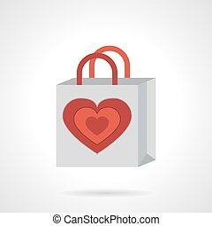 Paper bag with heart flat vector icon