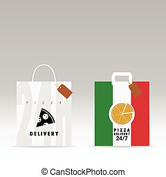 paper bag with pizza italy color on it illustration