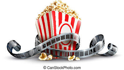 paper bag with popcorn and movie reel vector illustration ...