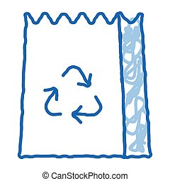 Paper Bag With Recycle Sign Packaging sketch icon vector. Hand drawn blue doodle line art isolated symbol illustration