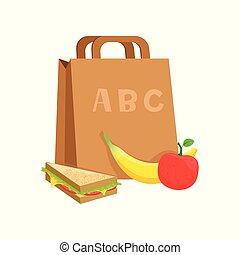 Paper bag with sandwich, banana and apple, school lunch box, food for kids and students vector Illustration on a white background