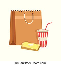 Paper bag with soda drink and sandwich vector Illustration on a white background