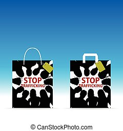 paper bag with stop trafficking color on it illustration -...