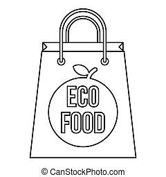 Paper bag with the inscription Eco food icon