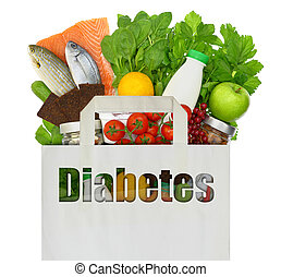 Paper bag with the word diabetes filled with healthy foods