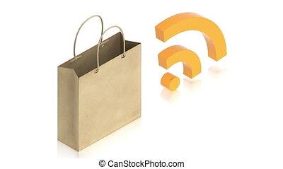 paper bag with wifi sign - part of isometric collections of...