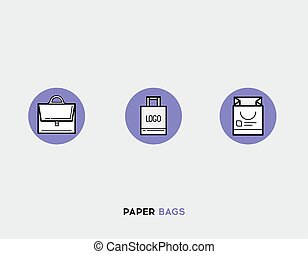 Paper bags flat illustration Set of line modern icons
