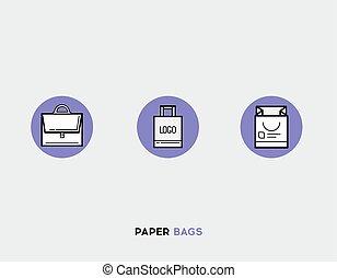 Paper bags flat illustration Set of line modern icons