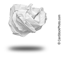 paper ball crumpled garbage frustration - close up of a...