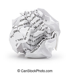 Paper ball shape - Crumpled sheet of print text script paper isolated ., A screwed up piece of paper in round shape., Junk paper can be recycle on white background with clip path