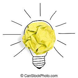 Paper ball forming a lightbulb