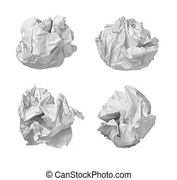 collection of various balls of paper on white background. each one is in camers full resolution