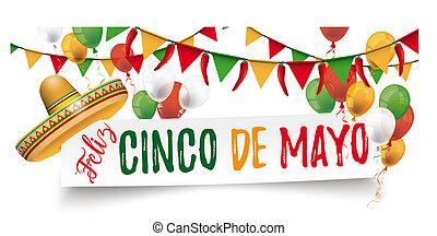 Paper Banner Buntings Chili Sombrero Feliz Cinco de Mayo -...